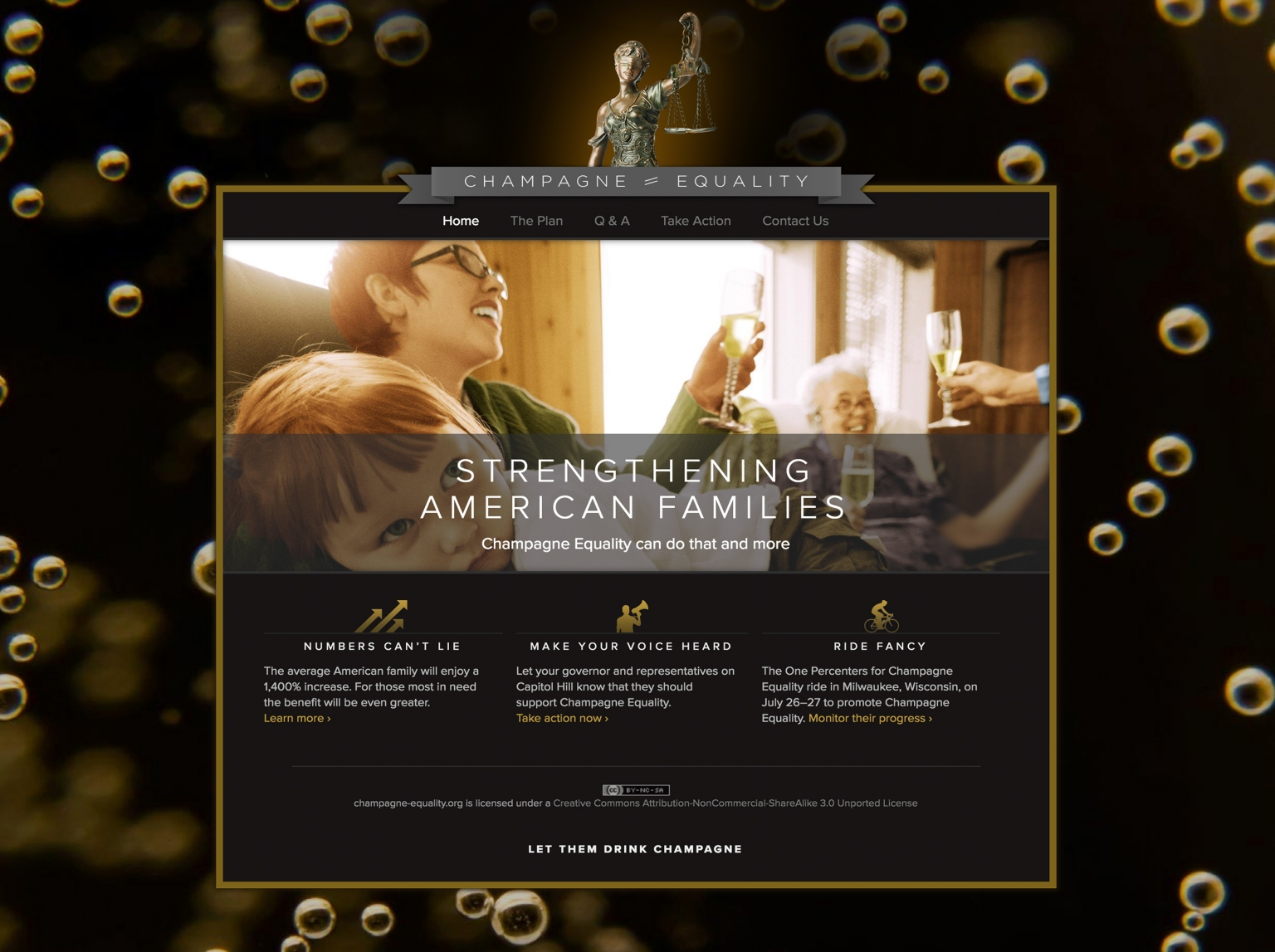 Champagne Equality web site home page